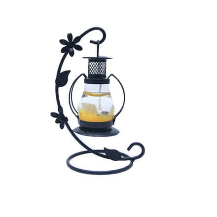 Scented Yellow Candle with Black Stand