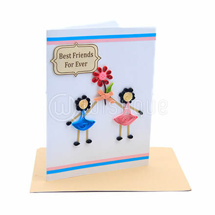 Pink & Blue Friends Forever Card