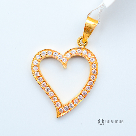 22kt Gold Heart Pendant With Stones