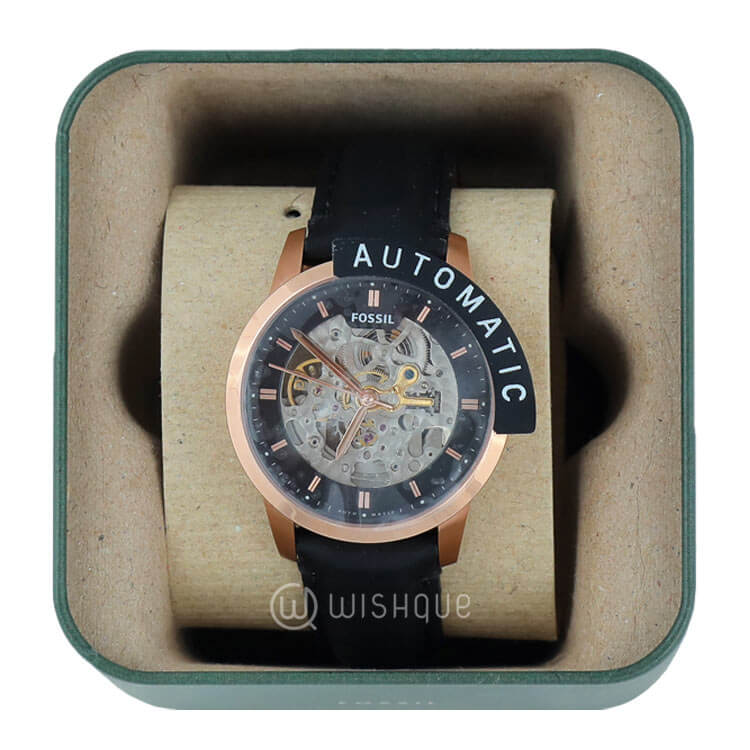 Fossil Townsman Automatic See Through Dial Black Leather