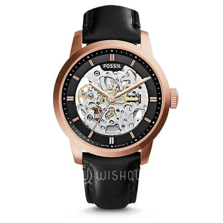 FOSSIL Townsman Automatic See Through Dial Black Leather Men's Watch ME3084