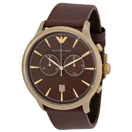 EMPORIO ARMANI Classic Brown Dial Leather Strap Chronograph Men's Watch AR1793