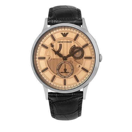 EMPORIO ARMANI Meccanico Automatic Champagne Dial Leather Men's Watch AR4660
