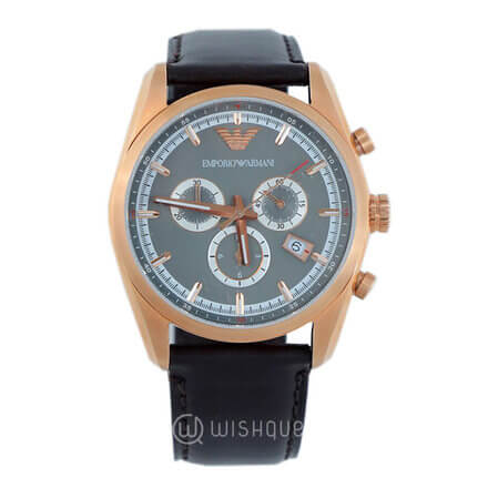 EMPORIO ARMANI Sportive Brown Leather Strap Chronograph Men's Watch AR6005