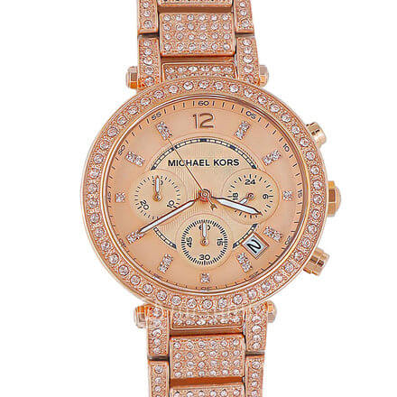 MICHAEL KORS Uptown Glam Parker Chronograph Rose Gold-Tone Women's Watch MK566