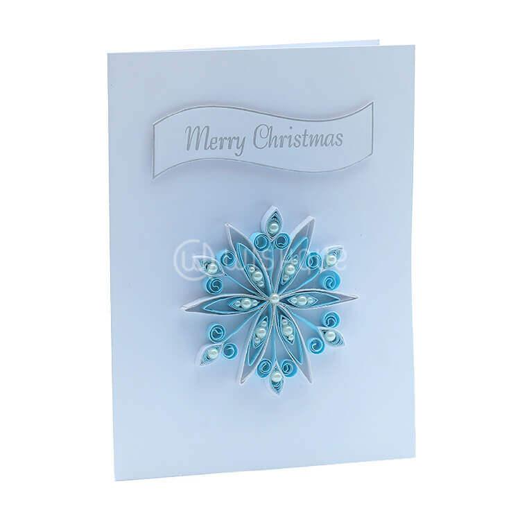 Blue pearls Snowflake Christmas Card - Wishque | Sri Lanka\'s Premium ...