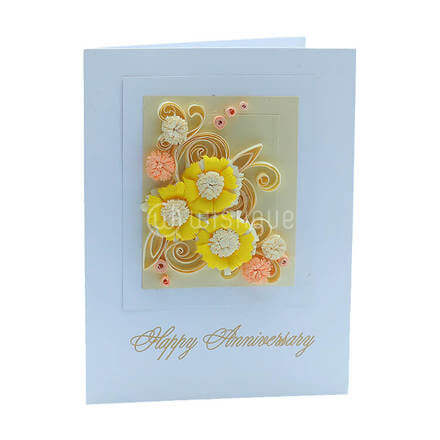 Golden Yellow Flower Anniversary Card