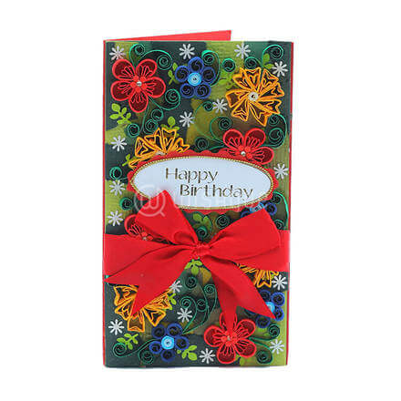 Red Ribbon Floral Card