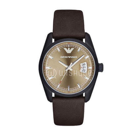 Emporio Armani  Mens Tazio Dark Brown Leather Strap Watch