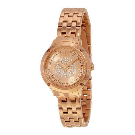 Armani Exchange Rose Gold Gold Plated Stainless Steel Mineral Women's Watch