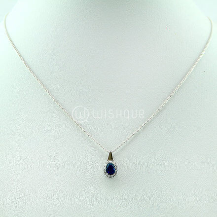 Blue Sapphire & Topaz Set With Silver Chain