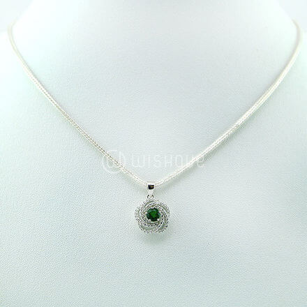 Crome Diopside & White Topaz Silver Pendent & Chain
