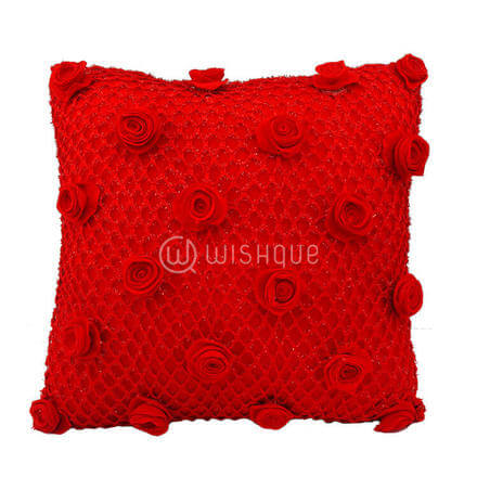 Red Net Shimmer Red Roses Cushion