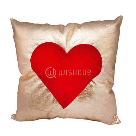 Rose Gold Cushion With Embosed Pure Red Heart