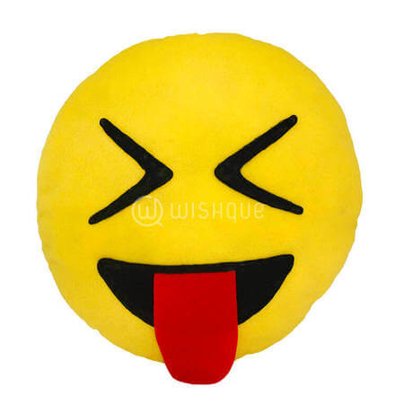 Stuck out Tounge Emoji Pillow