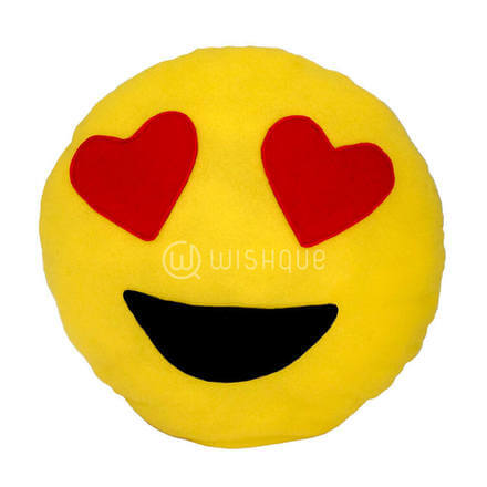 Heart Shaped Eyes Emoji Pillow