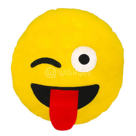 Stick out Tongue Emoji Pillow