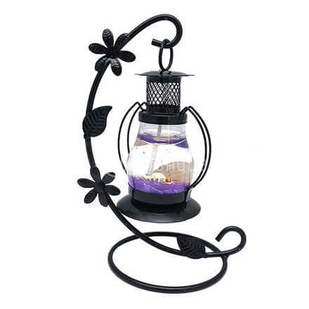 Scented Purple Candle with Black Stand