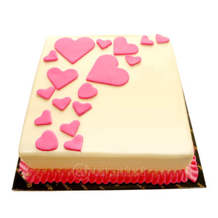 Pink Hearts Ribbon Cake