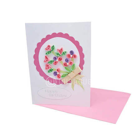 Framed Pink Paper Bouquet Card