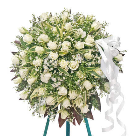 Funeral Standing Wreath - White Rose