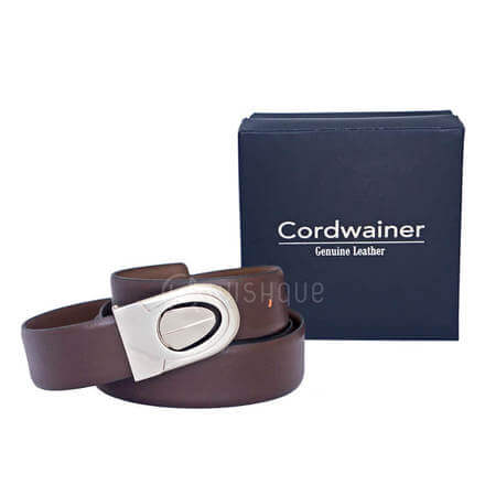 Plain Brown Cordwainer Genuine Leather Men's Belt