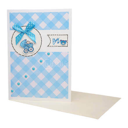 Blue Baby Boy Pram Card