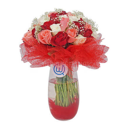 Mixed Rose Vase