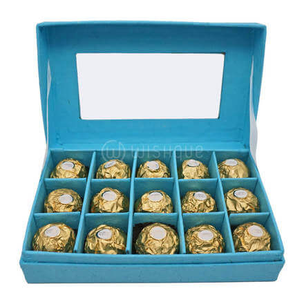 Sky Blue Rectangular Rocher Box