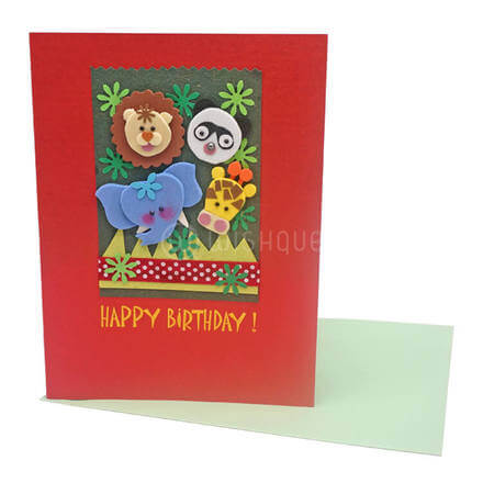 Happy Zoo Animals Birthday Card