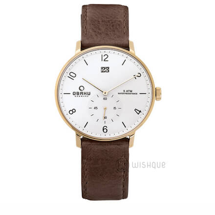 OBAKU Rislen Chestnut Leather  V190GDGWRN Mens' Watch