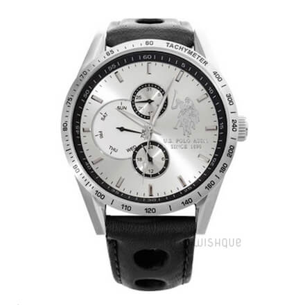 US POLO Royal Multifunction Black Leather USP4444BK Mens' Watch
