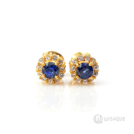 Natural Corundum Royal Blue Sapphire 1.06ct Yellow Gold Earrings