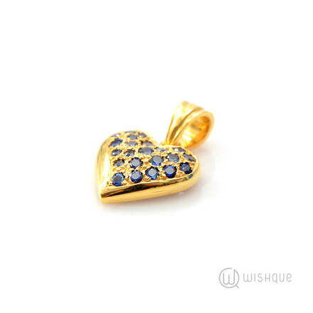 Yellow Gold with Blue Sapphires Heart Pendant