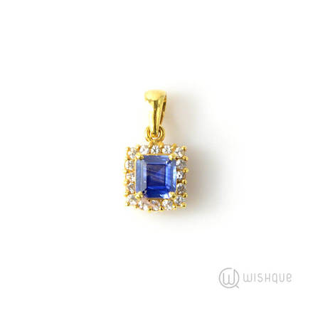 Natural Corundum Blue Sapphire 1.08ct Yellow Gold Pendant