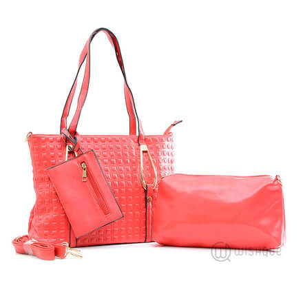 Red Marble Leather Pair Handbag