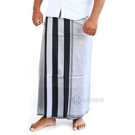 Black And Grey Stripes Handloom Sarong