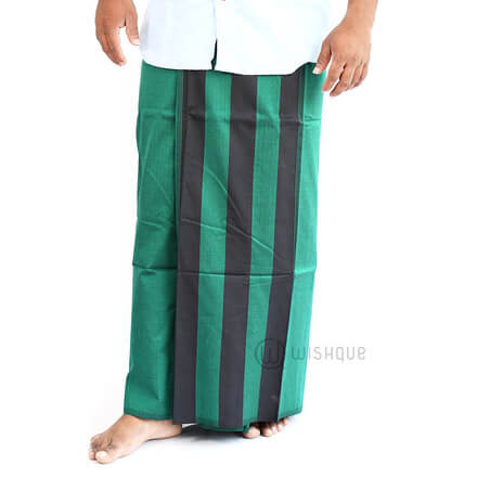 Green And Black Stripes Handloom Sarong
