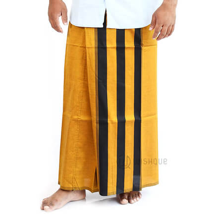 Turmeric Yellow with Black Stripes Handloom Sarong
