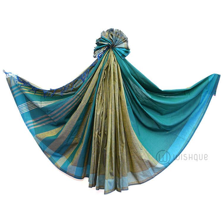 Handloom Saree - Green & Blue