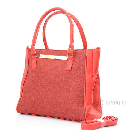 Imported Handbag - Leather Red