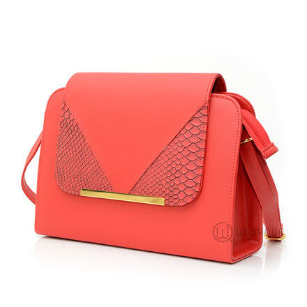 Snakeskin Flip Dome Bag Red