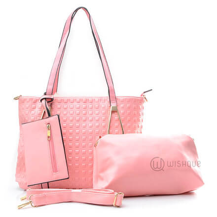 Pink Marble Leather Pair Handbag