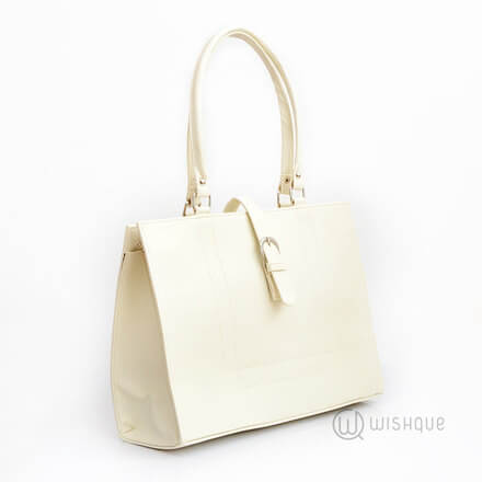 Buckle Front Pearl White Bag
