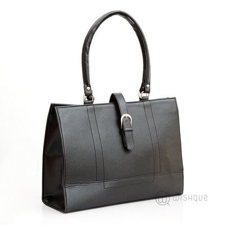 Buckle Front Black Bag