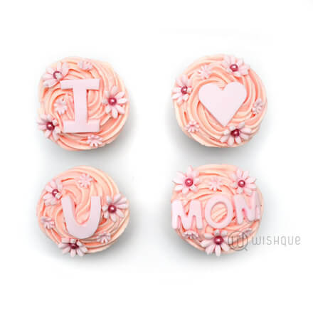 Pink Daisy Love U Mom Cupcake 4 Pack