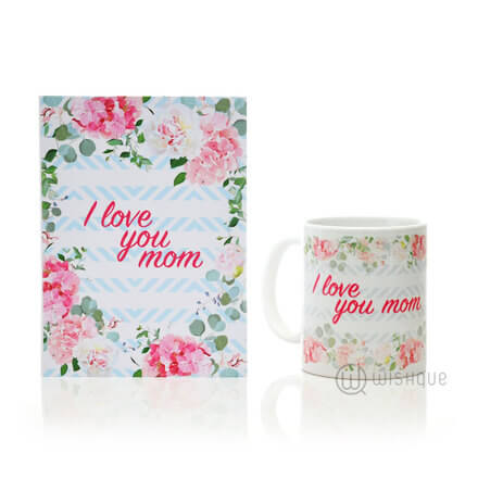 I love You Mom Floral Greeting Card & Printed Mug