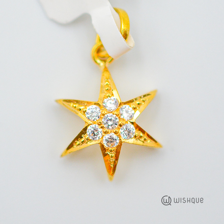 22kt Gold Star Pendant With Zirconia White Stones