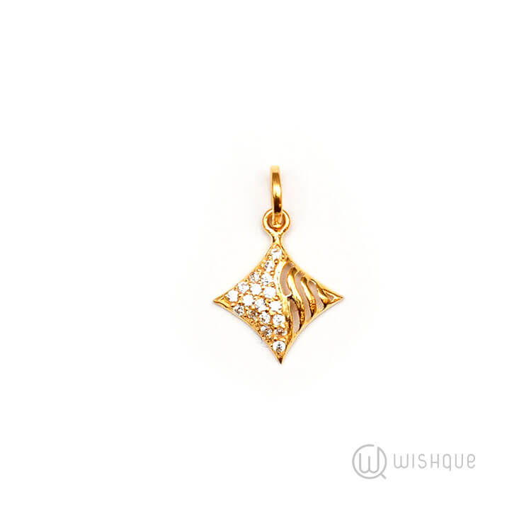 22kt Gold Square Pendant With Stones Arjp03 Wishque Sri