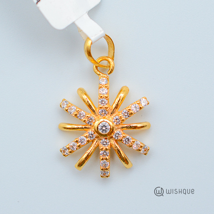 22kt Gold Flower Pendant With Stones